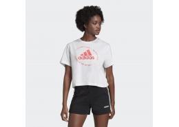 Circled Graphic Kadın Kısa Beyaz Spor Tişört