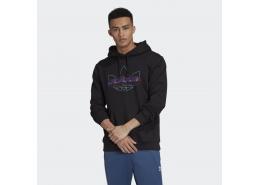 Techy Erkek Siyah Kapüşonlu Sweatshirt