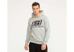 Skechers Fleece Logo Erkek Gri Sweatshirt