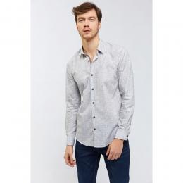 Baskılı Alttan Britli Yaka Slim Fit Erkek Gömlek (A91Y2093-20)