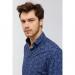 Baskılı Alttan Britli Yaka Slim Fit Erkek Gömlek (A91Y2125-11)