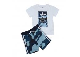 Camouflage Çocuk Beyaz Tişört ve Şort Takımı