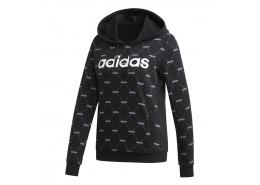 Linear Graphic Kapüşonlu Siyah Sweatshirt