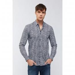 Baskılı Alttan Britli Yaka Slim Fit Erkek Gömlek (A91Y2093-03)