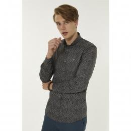 Baskılı Düğmeli Yaka Slim Fit Erkek Gömlek (A92S2281-03)