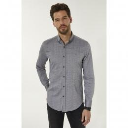 Baskılı Düğmeli Yaka Slim Fit Erkek Gömlek (A92Y2008-44)