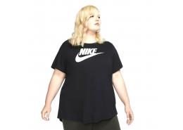 Sportswear Essential Büyük Beden Kadın Siyah Tişört (CJ2301-010)