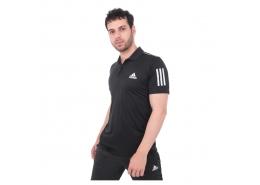 3 Bantlı Club Polo Yaka Erkek Siyah Tenis Tişörtü