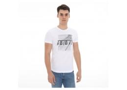 M Sid Foil Erkek Beyaz Günlük Tişört