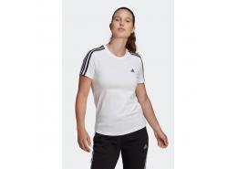 Loungewear Essentials Slim 3-Stripes Kadın Beyaz Tişört (GL0783)