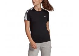 Loungewear Essentials Slim 3-Stripes Kadın Siyah Tişört (GL0784)