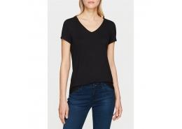 Mavi V Yaka Kadın Siyah Modal Tişört