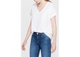 Mavi V Yaka Kadın Beyaz Tişört (rahat kesim)