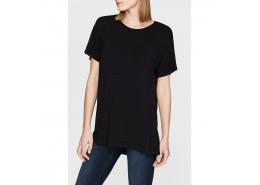 Mavi Kadın Yırtmaç Detaylı Siyah Basic T-Shirt