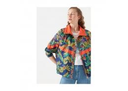 Kadın Tropik Baskılı Lacivert Ceket