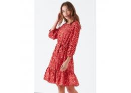 Kadın Kırmızı Çiçek Desenli Elbise