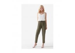 Beli Lastikli Keten Karışımlı Kadın Yeşil Pantolon