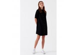 Bree Vintage Siyah Kadın Jean Elbise