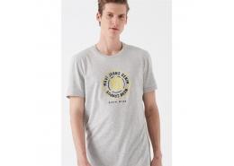Logo Baskılı Erkek Açık Gri Tişört