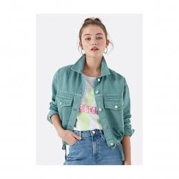 Cepli Yeşil Kadın Kot Ceket
