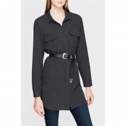 Kadın Cepli Uzun Siyah Gömlek