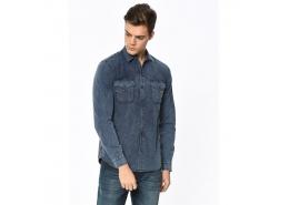 Çift Cepli Erkek Uzun Kollu İndigo Gömlek