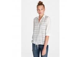 Çizgili 100% Viskoz Gömlek Yaka Kadın Bluz
