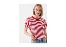 Çizgili Kırmızı Crop Kadın Tişört