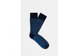 Mavi Logo Baskılı Lacivert Soket Çorap