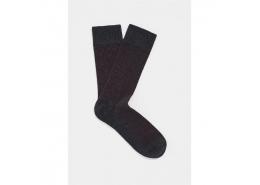 Erkek Bordo Çizgili Gri Uzun Çorap