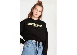 Mavi Jeans Differences Baskılı Kadın Siyah Sweatshirt