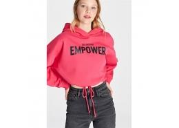 Empower Baskılı Kadın Pembe Crop Sweatshirt