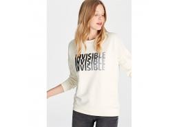 Invisible Baskili Sweatshirt Açık Krem