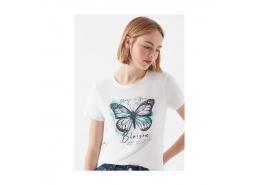 Mavi Jeans Kelebek Baskılı Kadın Beyaz Tişört