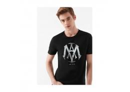 Mühür Logo Baskılı Erkek Siyah Tişört  (065641-900)