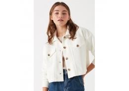 Mavi Jeans Örme Kadın Krem Crop Ceket