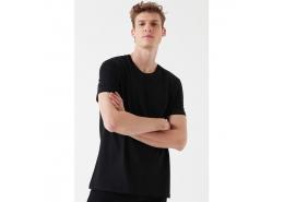 Normal Kesim Erkek Siyah Basic Tişört (065574-900)