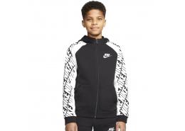 Sportwear Çocuk Siyah Kapşonlu Fermuarlı Sweatshirt