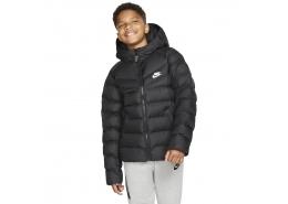 Sportswear Kapüşonlu Çocuk Siyah Mont