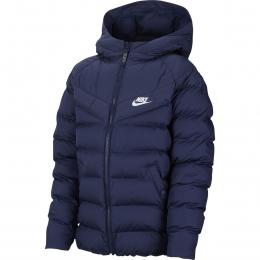 Sportswear Kapüşonlu Çocuk Mavi Şişme Mont