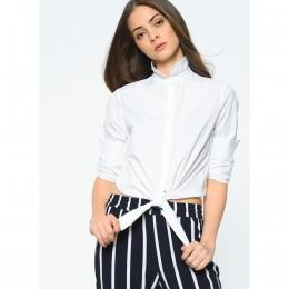 Allison Önden Bağlamalı Kadın Beyaz Gömlek