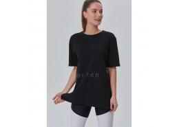 Glitter Print Ted Kadın Siyah Tişört (WTT1955-BK)