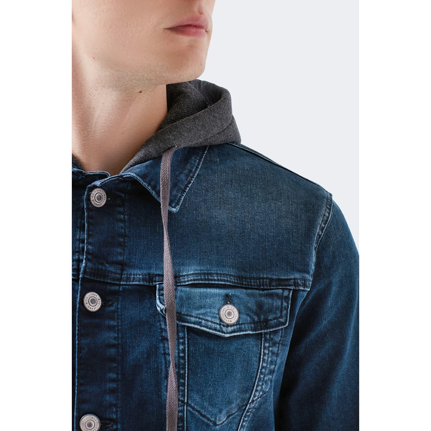 Brandon Vintage Erkek Kapüşonlu Kot Ceket