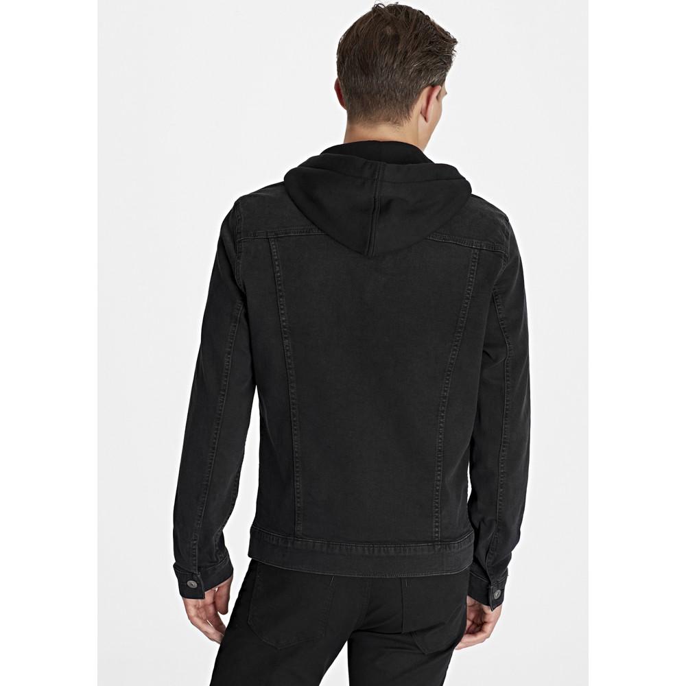 Brandon Kapüşonlu Erkek Siyah Jean Ceket
