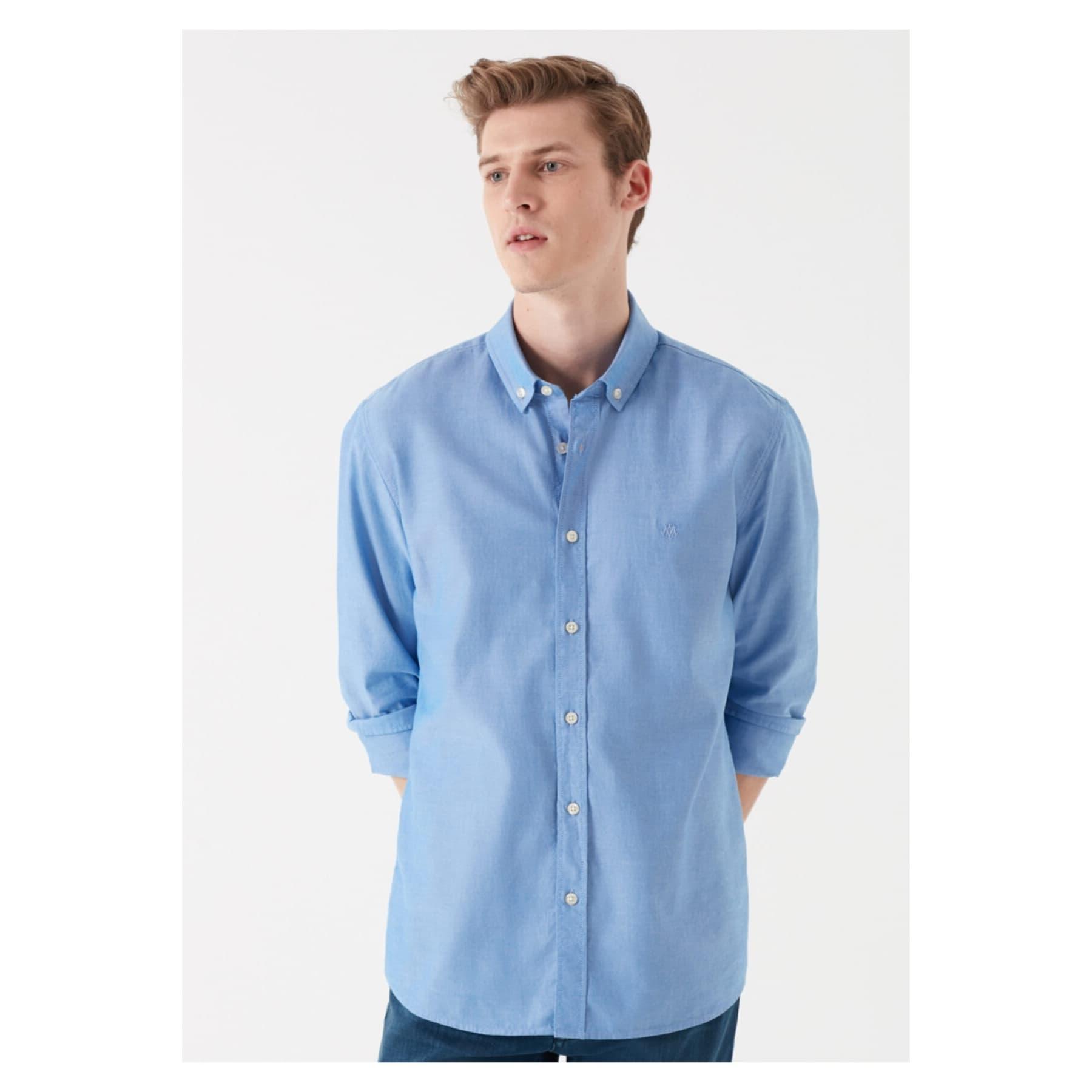 Erkek Cepsiz Saks Mavisi Oxford Gömlek