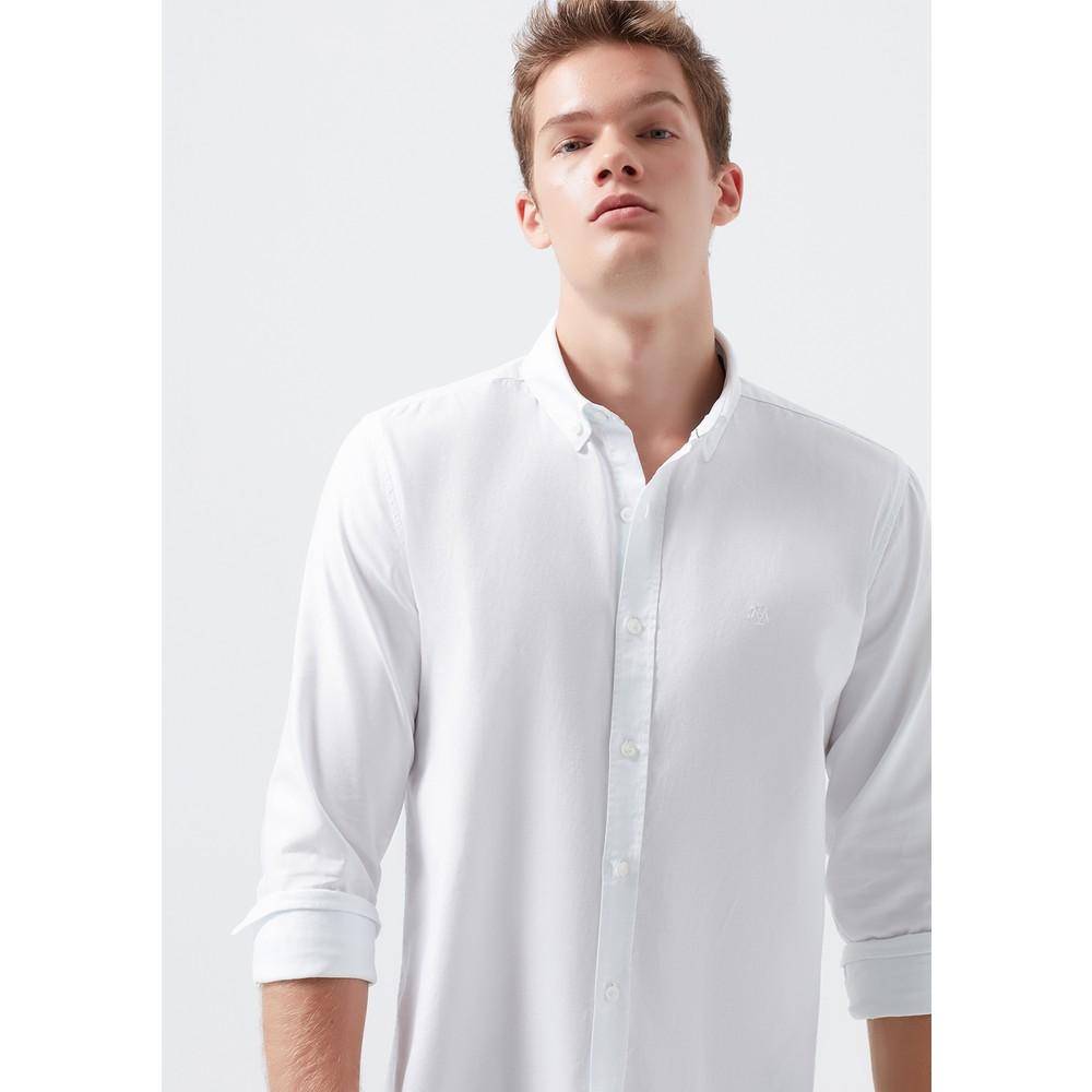 Erkek Cepsiz Beyaz Oxford Gömlek