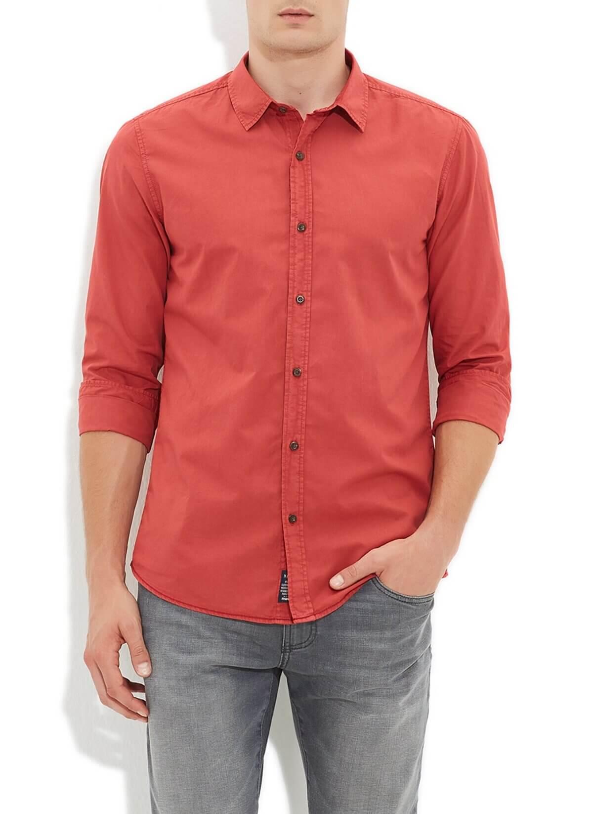 Mavi Jeans Erkek Koyu Kırmızı Uzun Kol Gömlek