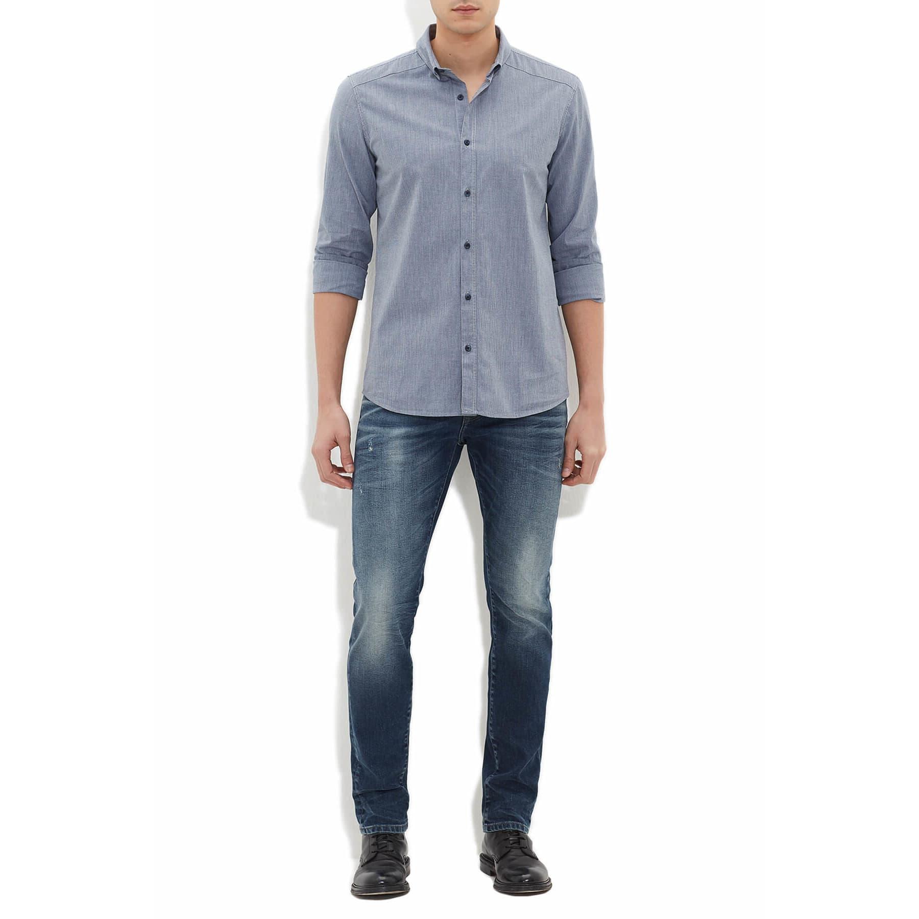 Erkek Cepsiz Gece Mavisi Gömlek