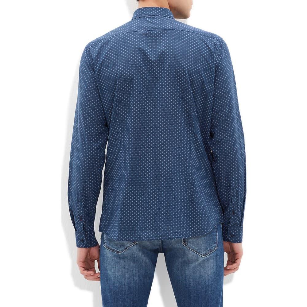Baskılı Koyu Denim Erkek Günlük Gömlek