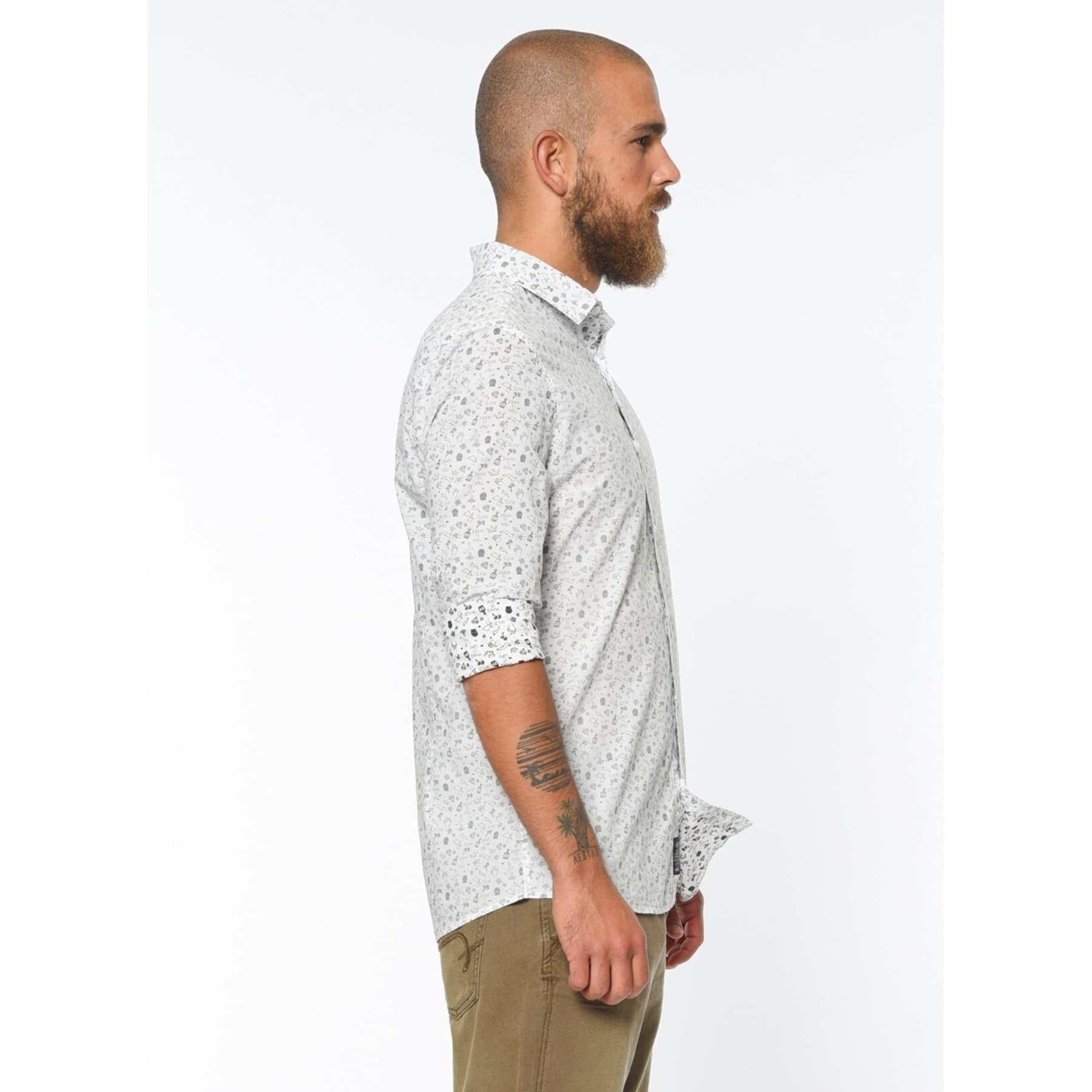 Baskılı Erkek Beyaz Gömlek (020606-23685)